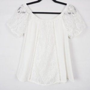 Umgee Off Shoulder Lace Top White S